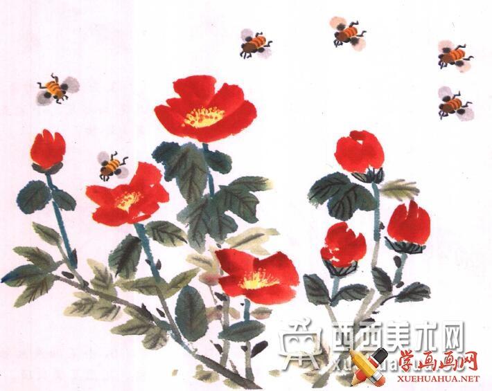 国画蜜蜂的儿童画画法教程(7)