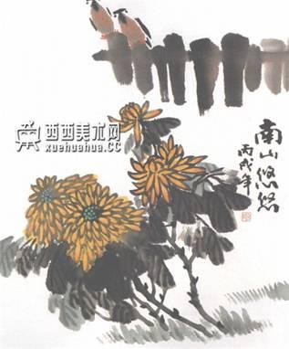 儿童学画画:国画菊花的画法(7)