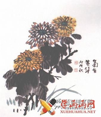 儿童学画画:国画菊花的画法(5)