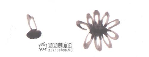 儿童学画画:国画菊花的画法(1)