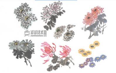 儿童学画画:国画菊花的画法(6)