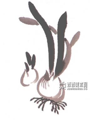 儿童水墨画水仙的画法(2)