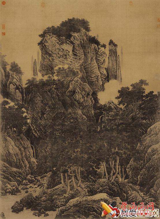 宋李唐国画山水名画《万壑松风图》鉴赏(1)