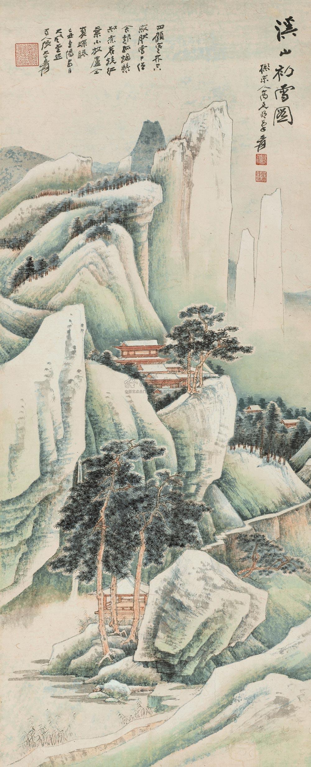 张大千山水画《溪山初雪图》(1)