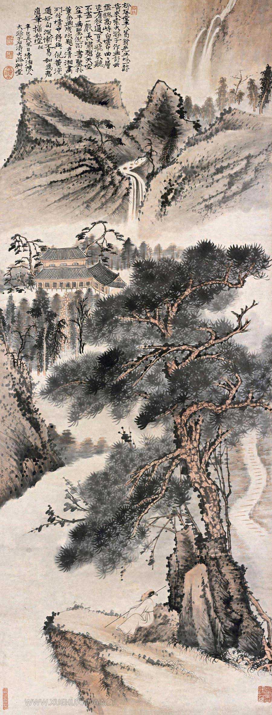 清四僧之石涛《听泉图》高清图片(1)