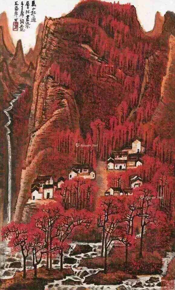 李可染画作《万山红遍》(1)