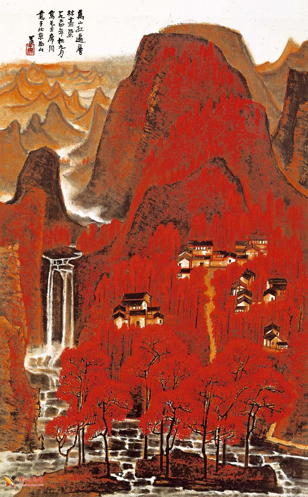 李可染画作《万山红遍》(2)