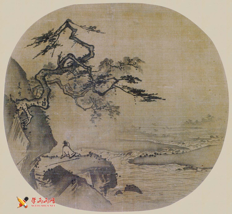 夏圭山水画作品《坐看云起图》赏析(1)