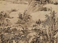 《雨洗山根图》赏析_清髡残高清国画作品欣赏