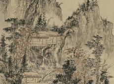 髡残山水画作品《溪山秋雨图》欣赏