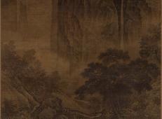 南宋萧照《秋山红树图轴绢本》