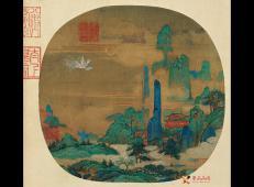 赵伯驹青绿山水画《仙山楼阁图》