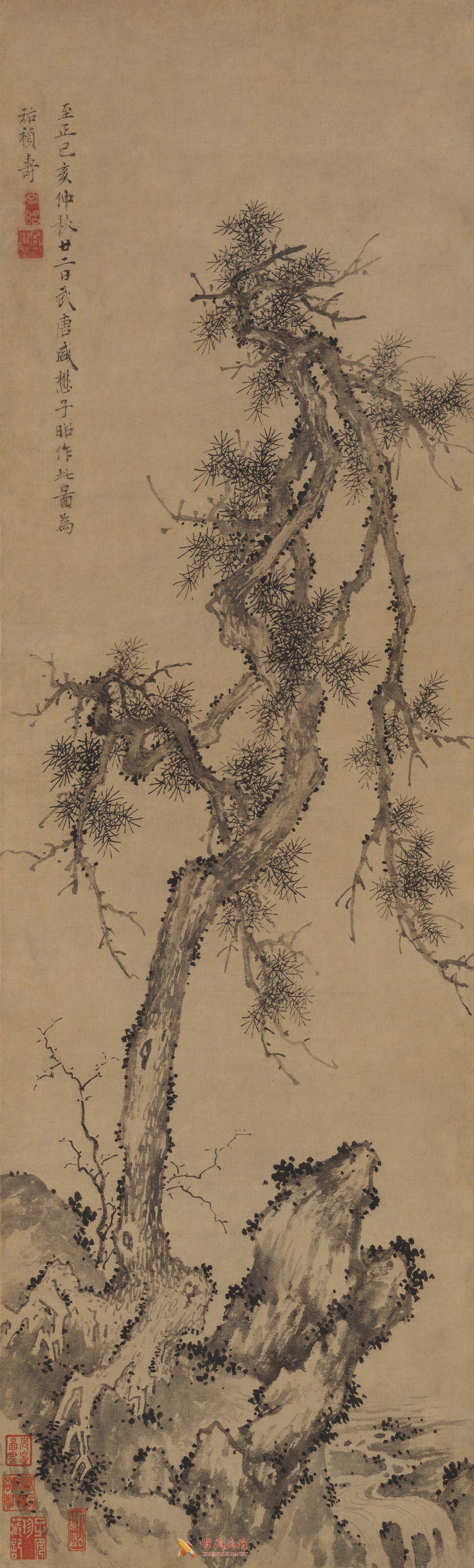 盛懋国画作品《松石图》赏析(1)