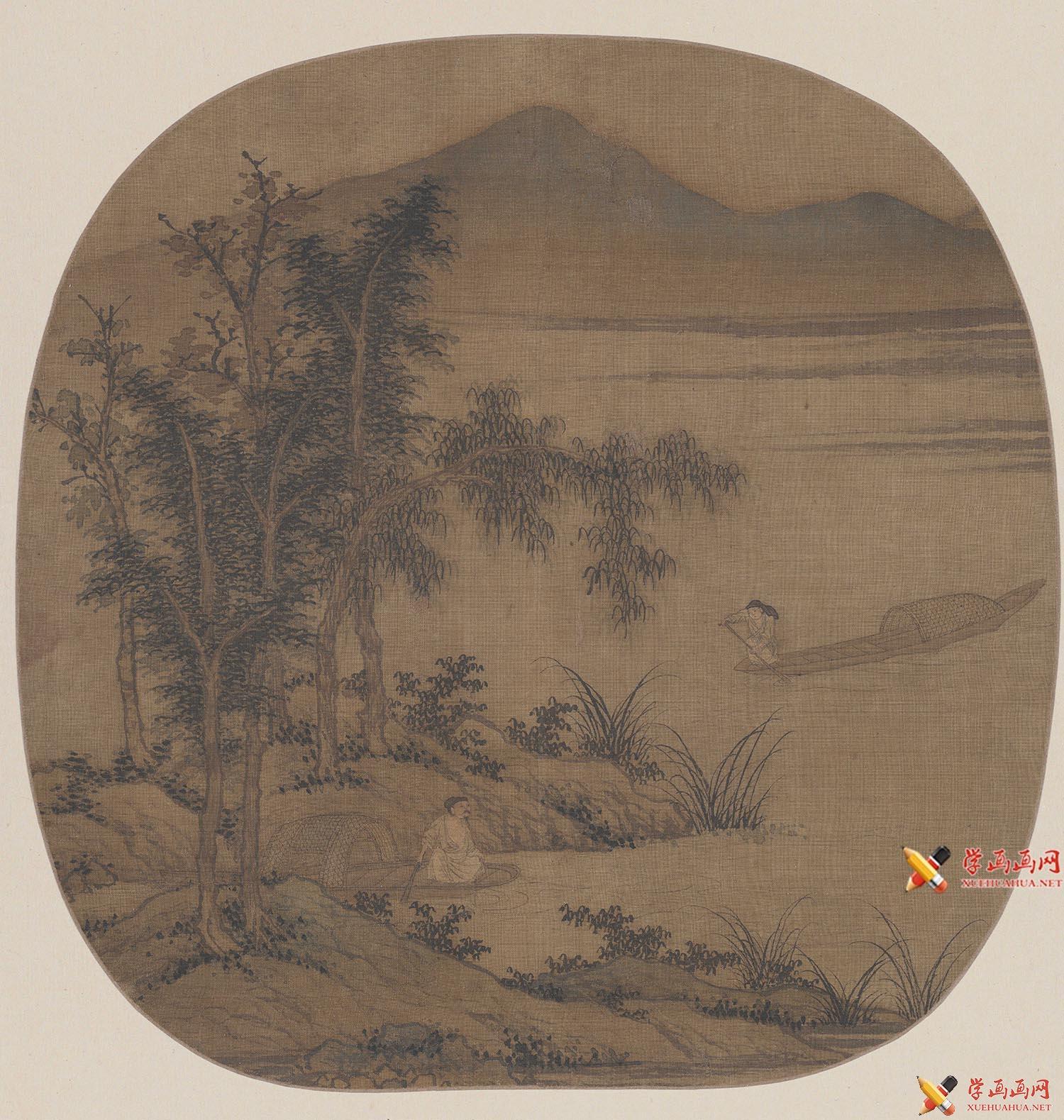 《秋溪放艇图》赏析_描绘古代隐士垂钓的绘画作品(1)