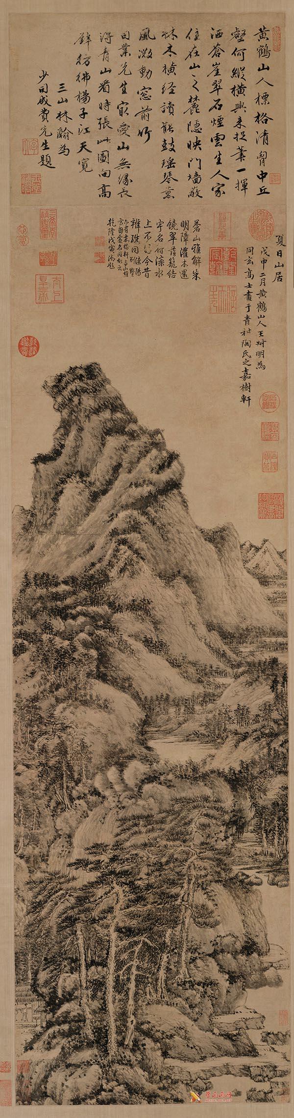 中国古画欣赏:王蒙《夏日山居图》(1)