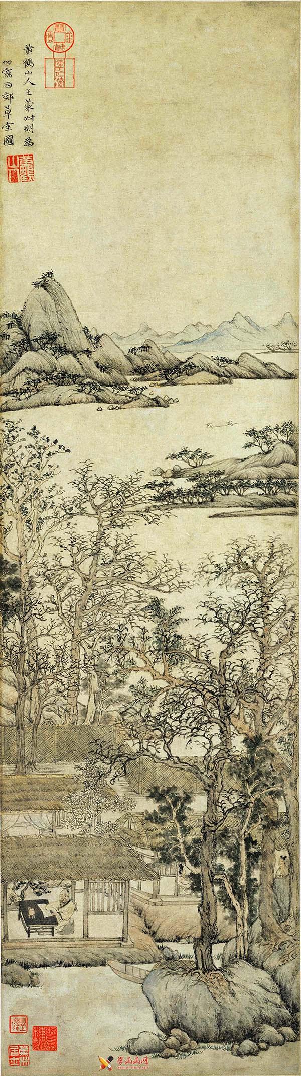 王蒙山水画作品《西郊草堂图》赏析(1)