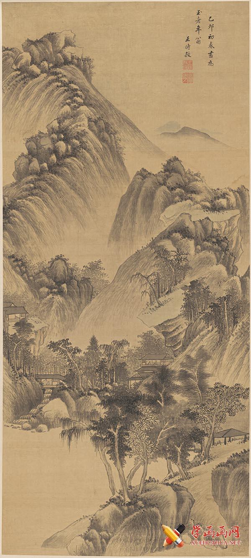 清王时敏《山楼客话图》超清山水画在线欣赏(1)