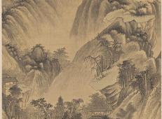 清王时敏《山楼客话图》超清山水画在线欣赏