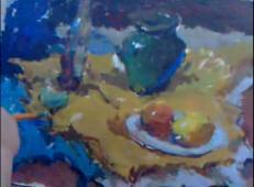 中央美院水粉示范视频-(酒瓶、水果、陶罐、白瓷盘)