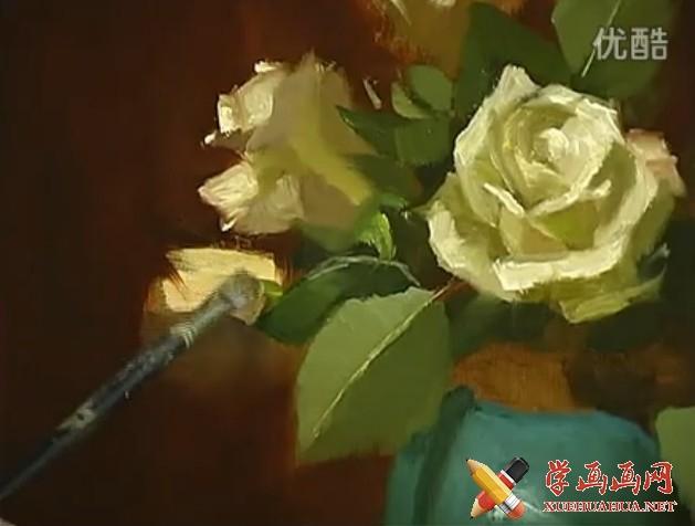 油画教程_静物花卉写生技法视频(1)