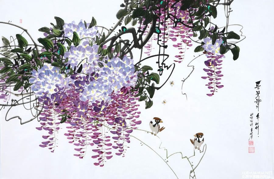 出自韩国人的水墨花鸟画欣赏