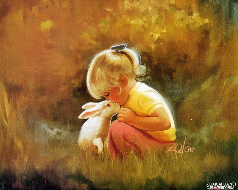 法国艺术家卓兰(Donald Zolan)儿童水彩画作品欣赏