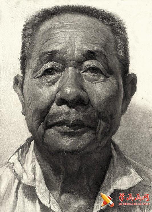 刘斌画室老年男性素描头像