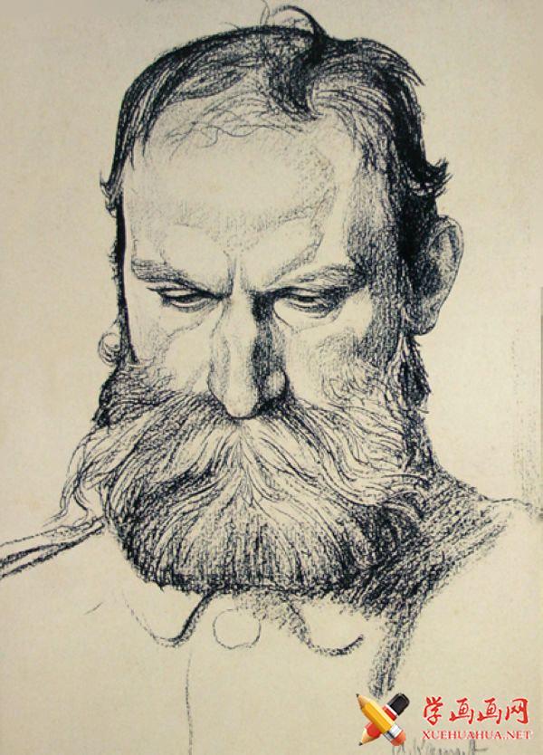 康勃夫(Arthur kampf)速写素描正面男头像