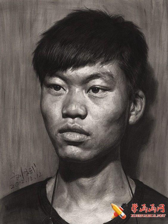 刘斌画室男学生素描头像