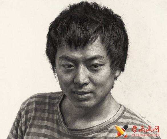 刘斌画室男青年素描头像