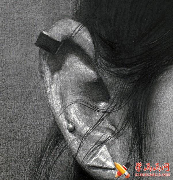刘斌画室女青年素描头像局部耳朵