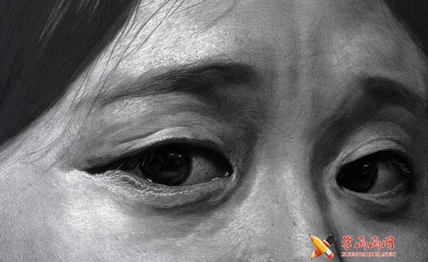 刘斌画室素描头像局部眼睛