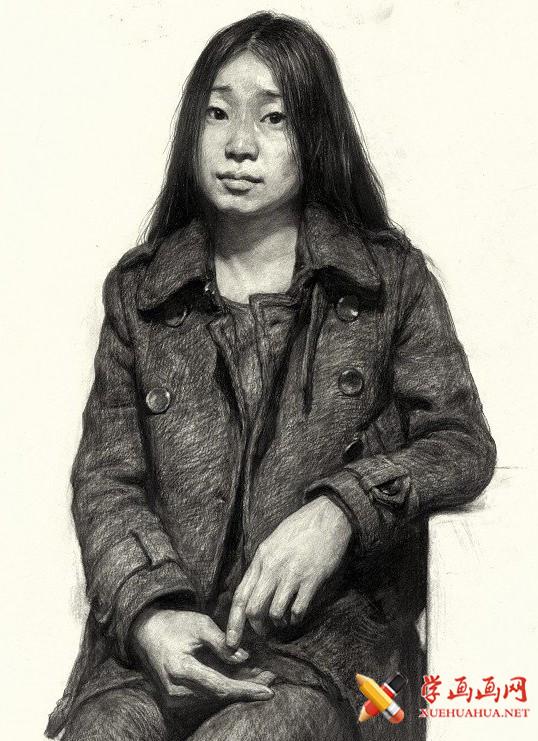 刘斌画室女青年素描半身像