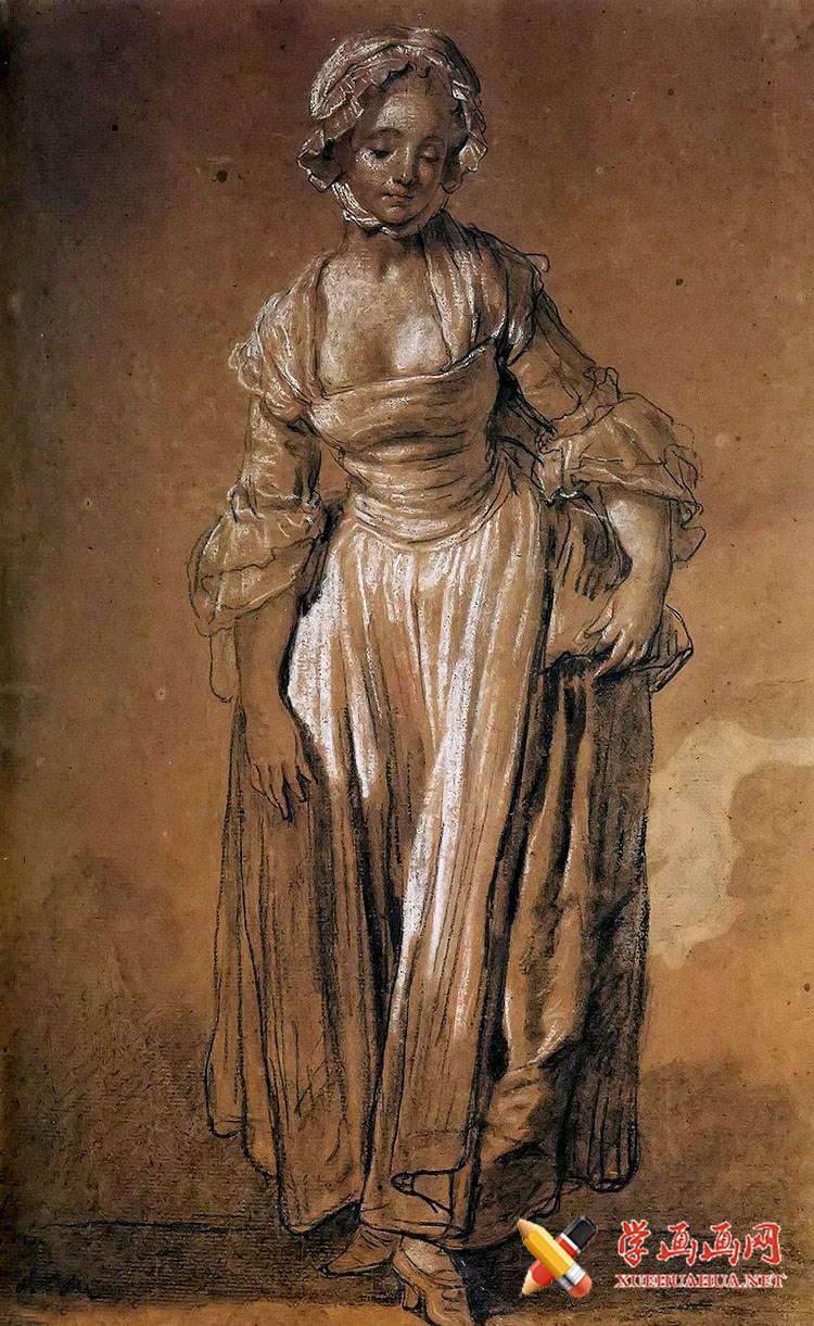 让.巴蒂斯特.格勒兹素描女子