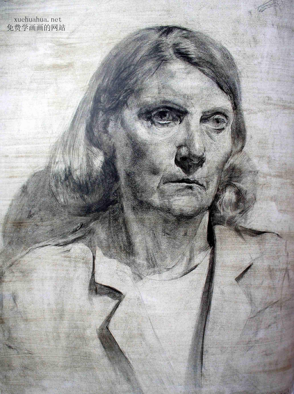 列宾学院素描头像-正面妇女