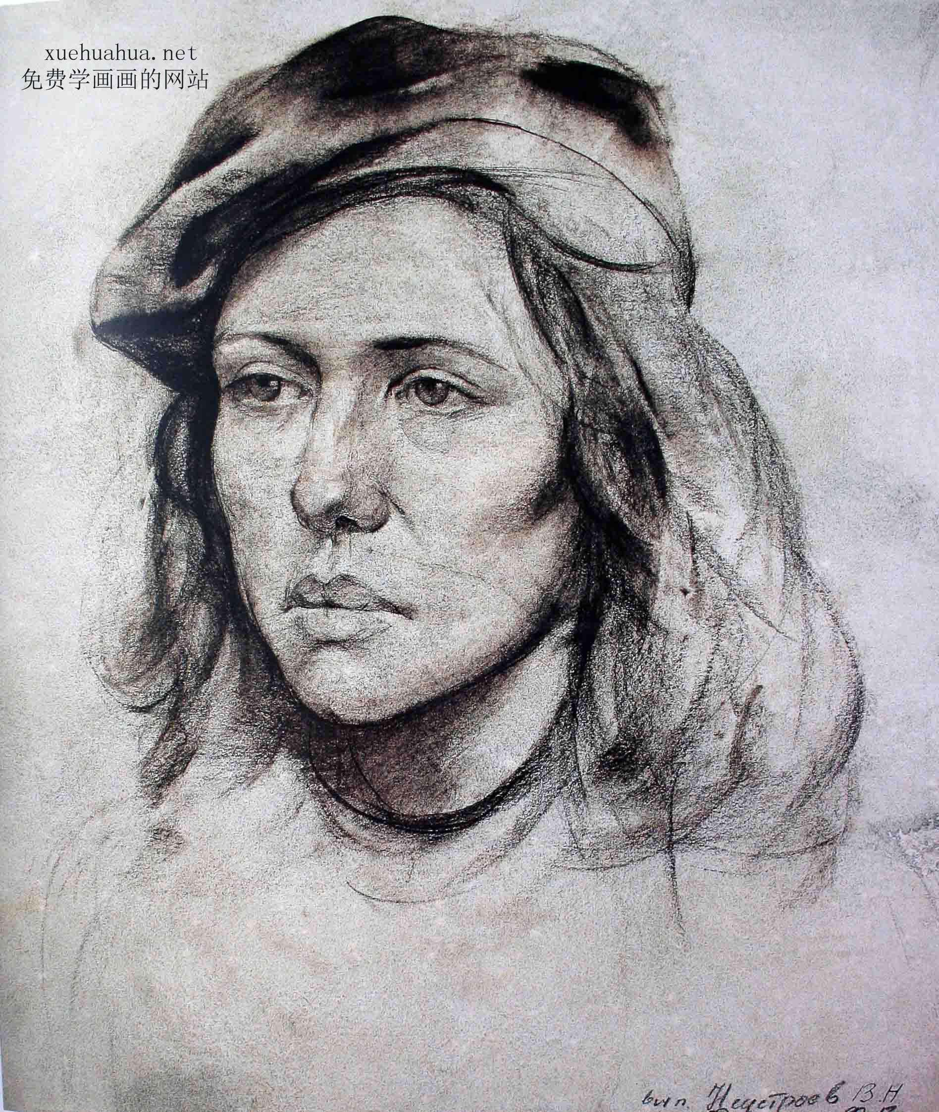 列宾学院素描头像-妇女头像
