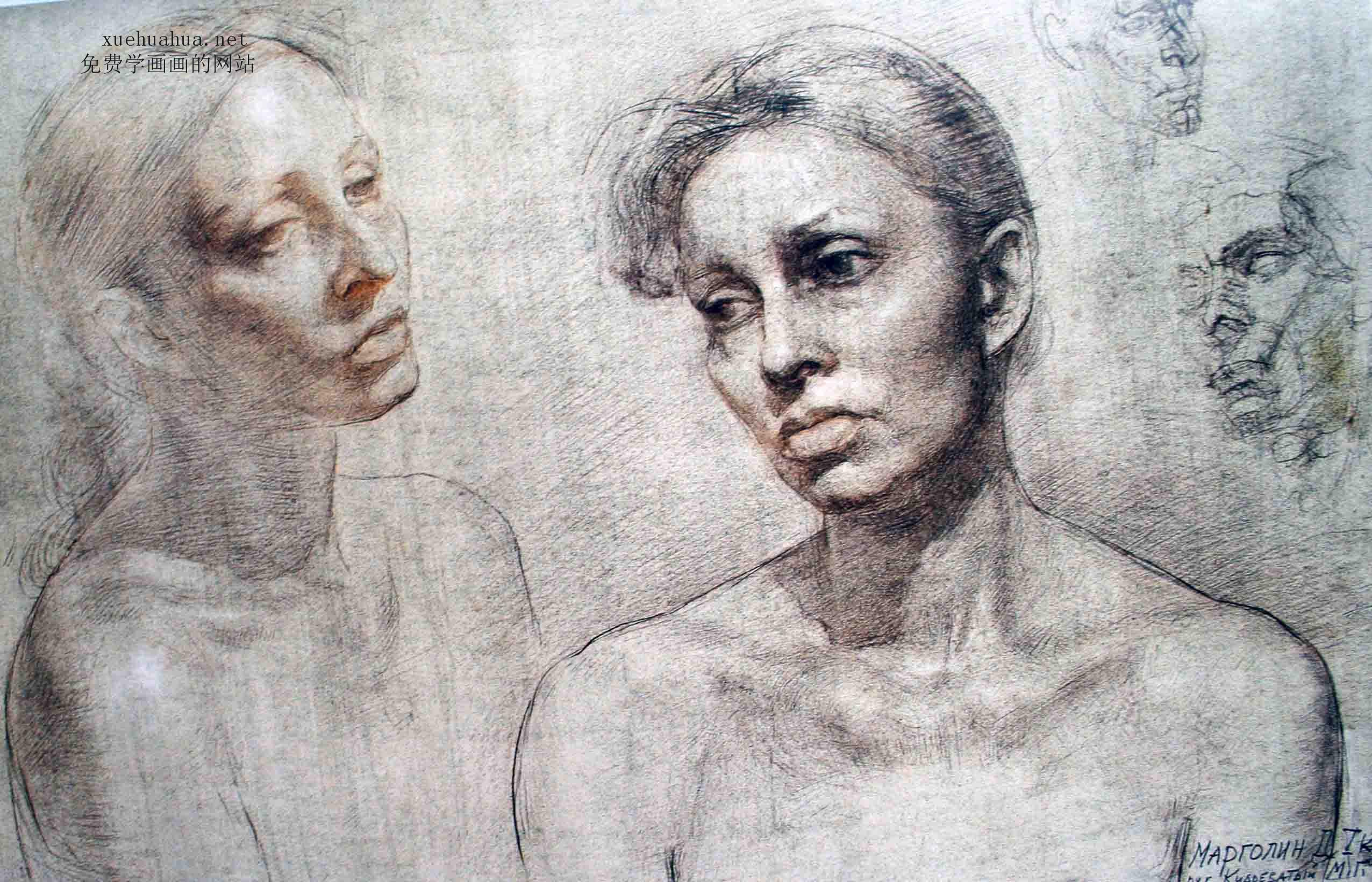 列宾学院素描头像-  女性