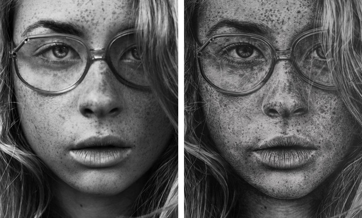 Monica Lee超写实素描作品欣赏-戴眼镜的女青年