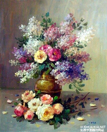 油画作品欣赏-静物花卉(12张)