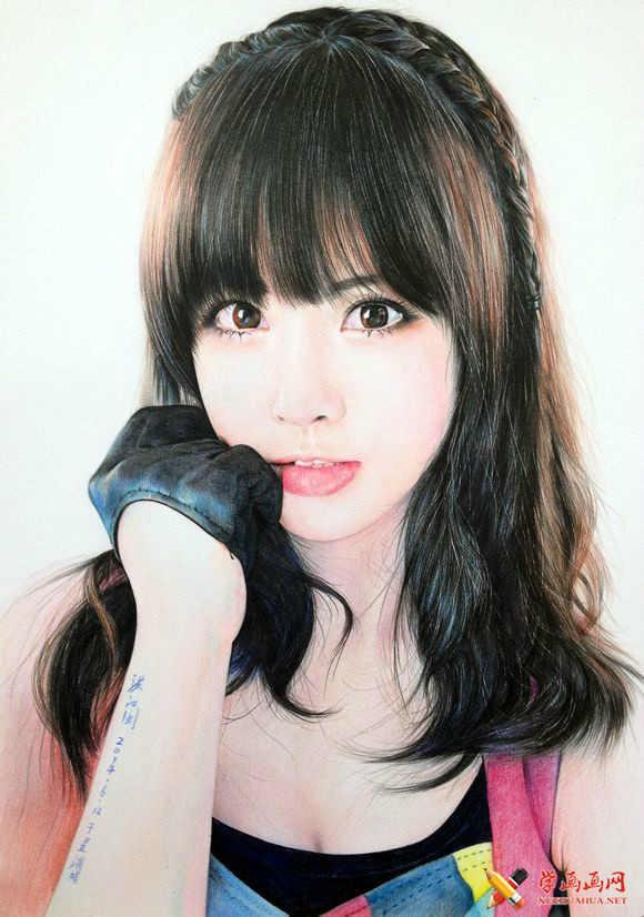 手绘美女彩铅画高清步骤图(2)