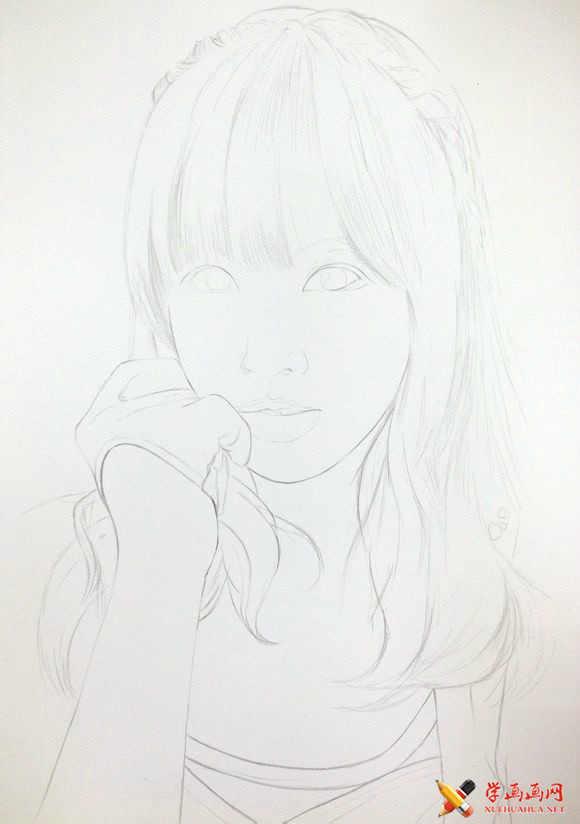 手绘美女彩铅画高清步骤图(3)