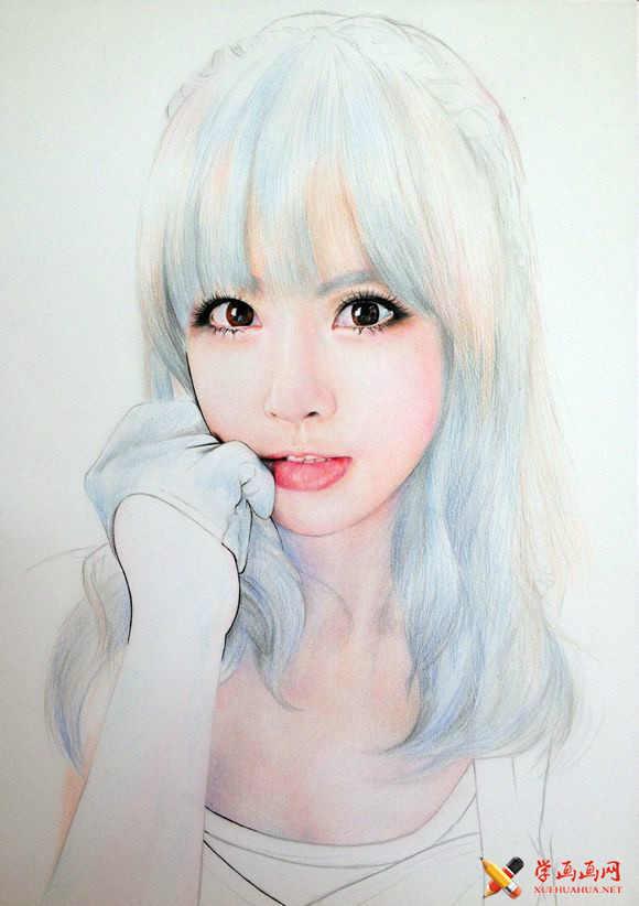 手绘美女彩铅画高清步骤图(18)