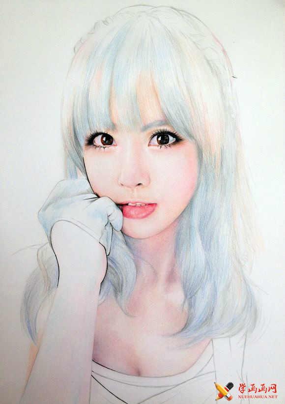 手绘美女彩铅画高清步骤图(19)
