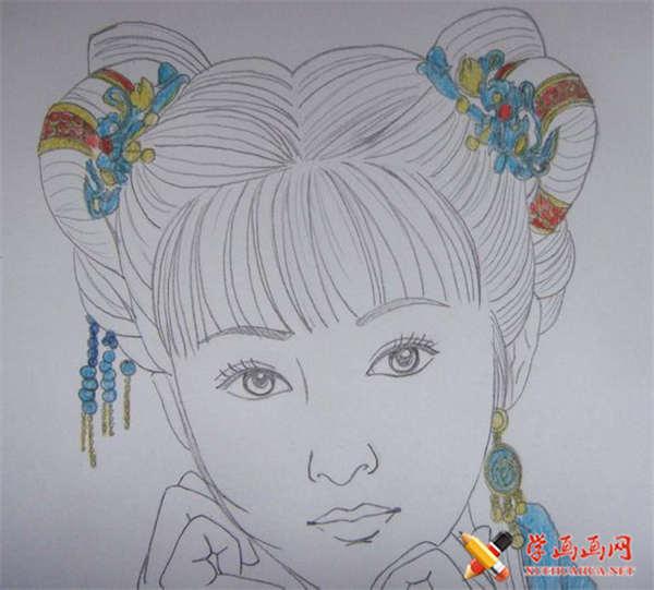彩铅画古装美女步骤教程(适合初学者)(7)