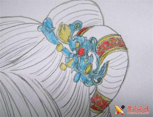 彩铅画古装美女步骤教程(适合初学者)(9)