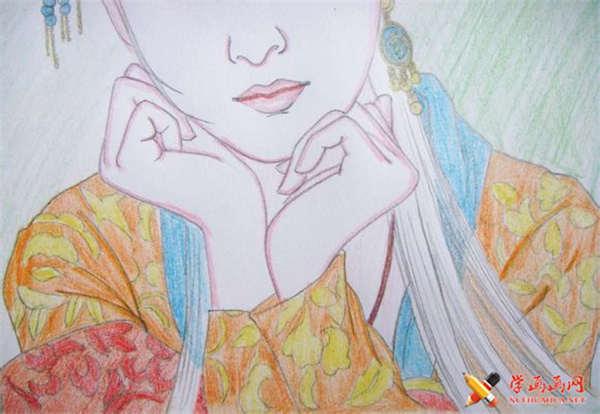 彩铅画古装美女步骤教程(适合初学者)(12)