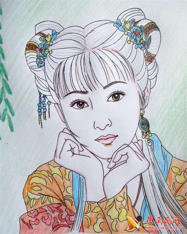 彩铅画古装美女步骤教程(适合初学者)(13)