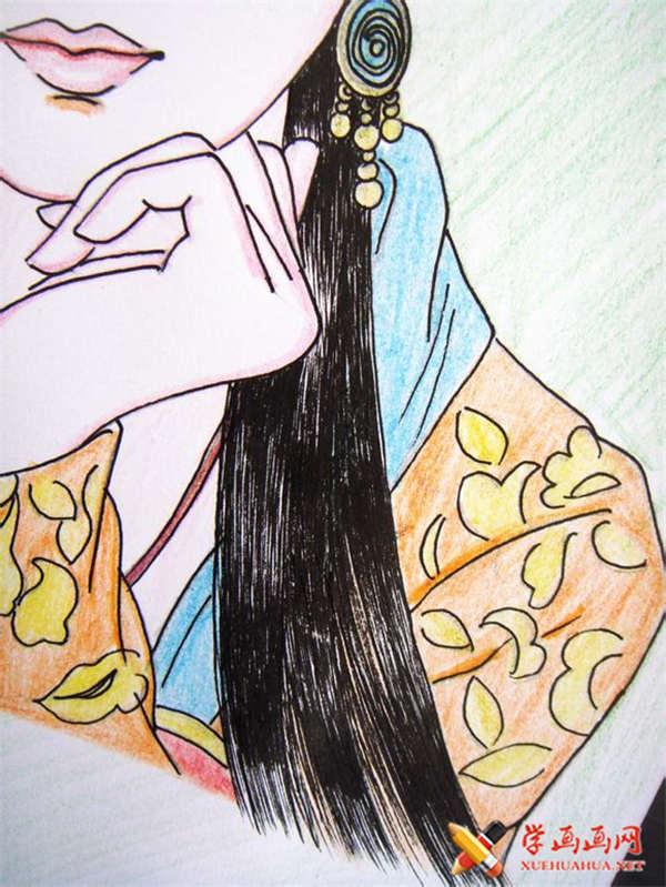 彩铅画古装美女步骤教程(适合初学者)(18)