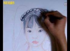 彩铅画古典美女视频