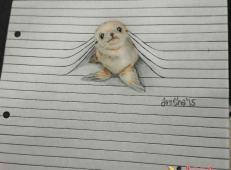 创意彩铅画欣赏:线条中的小动物
